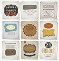 Retro labels and typography bakery coffee shop cafe menu design elements calligraphic Royalty Free Stock Photo