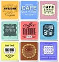 Retro labels and typography bakery coffee shop cafe menu design elements calligraphic Stock Images