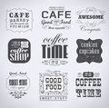 Retro labels and typography bakery coffee shop cafe menu design elements calligraphic Royalty Free Stock Photography