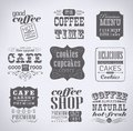Retro labels and typography bakery coffee shop cafe menu design elements calligraphic Stock Image
