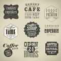 Retro labels and typography bakery coffee shop cafe menu design elements calligraphic Royalty Free Stock Images