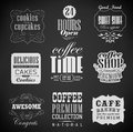 Retro labels and typography bakery coffee shop cafe menu design elements chalk calligraphic drawing with chalk on blackboard Stock Image