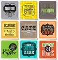 Retro labels and typography vintage colored bakery coffee shop cafe menu design elements calligraphic Royalty Free Stock Photography