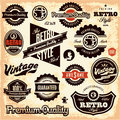 Retro labels vintage labels collection premium quality guarantee styled signs set Royalty Free Stock Images
