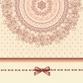 Retro lace and bow template card Royalty Free Stock Image