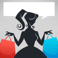 Retro lady, shopping bags and speech bubble