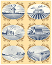 Retro landscapes vector illustration farm house and field agriculture graphic countryside scenic antique drawing.