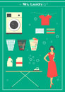 Retro laundry set s housewife engaged in washing Stock Photos