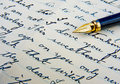 Retro letter with fountain pen. Stock Images