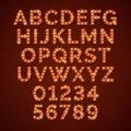 Retro light bulb bright alphabet, vector font Royalty Free Stock Photo