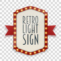 Retro Light Sign with Lamps and red Ribbon