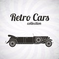 Retro limousine cabriolet car vintage collection classic garage sign vector illustration background can be used for design card Royalty Free Stock Photo