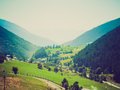 Retro look aosta valley mountains vintage looking view of aoste Stock Images