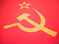 Retro look cccp flag vintage looking communist with hammer and sickle symbols of communism yellow over red Royalty Free Stock Photo