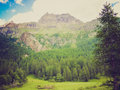Retro look cervinia aosta valley vintage looking mountains in in italy Royalty Free Stock Photo