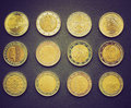 Retro look euro coins vintage looking range of european from many countries including germany france italy ireland spain portugal Royalty Free Stock Photo