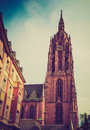 Retro look frankfurt cathedral vintage looking frankfurter dom in roemerberg am main germany Stock Photo