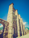 Retro look roman theatre aosta vintage looking ruins of the in aoste italy Royalty Free Stock Photo