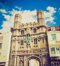 Retro look st augustine gate in canterbury vintage looking england uk Stock Image
