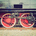 Retro look steam train vintage looking detail of ancient locomotive vehicle Royalty Free Stock Images