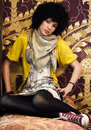 Retro looking teen girl Royalty Free Stock Photo