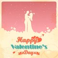 Retro love background illustration of for happy valentines day card Stock Image