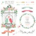 Retro Love Birdcage And Weddin...