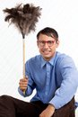 Retro man with duster portrait of male holding feather Stock Photography
