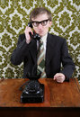 Retro manager angry on the phone Royalty Free Stock Images