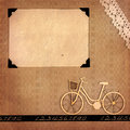 Retro memories page from a styled photo album with blank photo frame and scrap bicycle Royalty Free Stock Photo