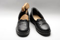 Retro mens shoes pair of black antique men Royalty Free Stock Photos