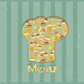 Retro Menu Card Designs with chefs hat Stock Photos