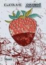Retro menu design Chocolate covered strawberry. Strawberry in dark chocolate. Vector illustration Royalty Free Stock Photo