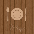 Retro menu design with utensil and wooden background and Stock Photo