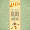 Retro merry christmas card with snowman in vintage style illustration Royalty Free Stock Image