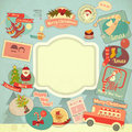 Retro merry christmas label set with santa claus and items frame illustration Stock Photo
