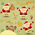 Retro merry christmas and new years card with santa claus houses on a vintage background illustration Stock Images