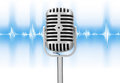 Retro microphone with audio wave Royalty Free Stock Image