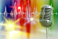 Retro microphone with audio wave Royalty Free Stock Photo