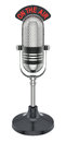 Retro microphone round d illustration over white background Stock Photo