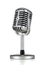 Retro microphone vintage silver on white background Royalty Free Stock Photos