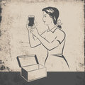Retro mobile phone girl touching new taken out of the box illustration Stock Photography