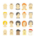 Retro and modern different people faces style isolated on white Royalty Free Stock Image