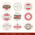 Retro modern hipster wedding logo frame badge design