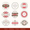 Retro modern hipster wedding logo frame badge design