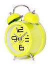 Retro modern round green clock Stock Images