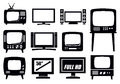 Retro and modern tv icons vector black set Stock Photography