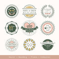 Retro modern wedding logo frame badge design element