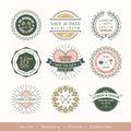 Retro modern wedding logo frame badge design element