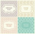 Retro Mono Line Frames with place for Text. Vector Design Template, Labels, Badges on Seamless Geometric Patterns.